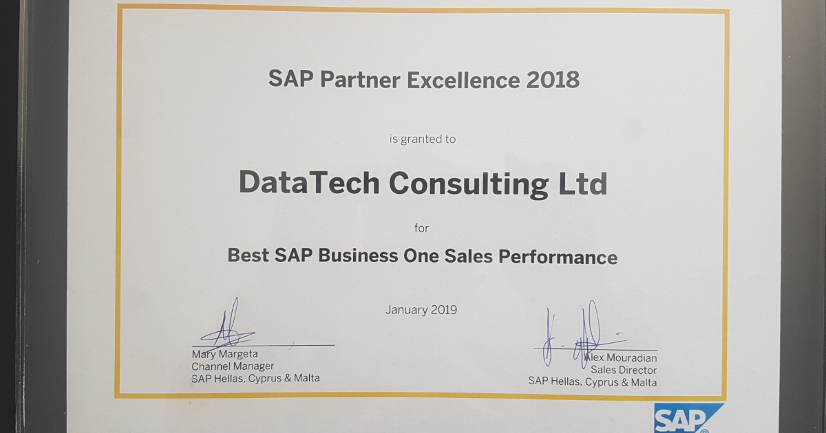 This award recognises DataTech's successful expansion of the SAP Business One ERP product base, following the implementation of a record number of new