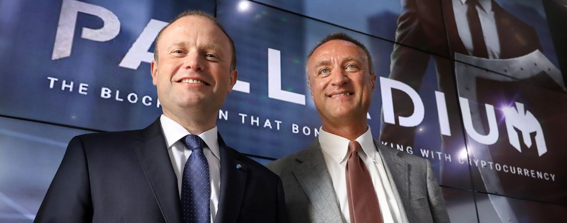 Prime Minister Joseph Muscat with Palladium founder and chairman Paolo Catalfamo.