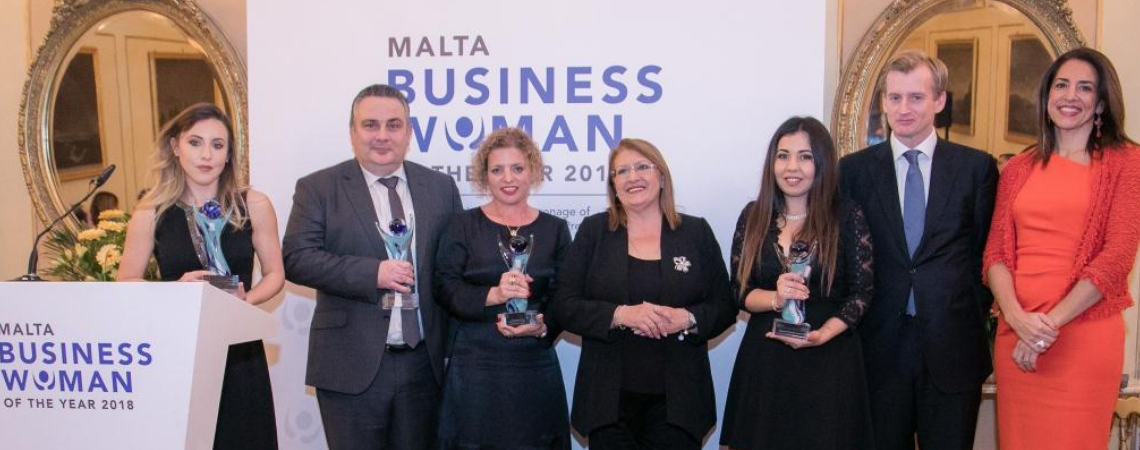 Amanda Xuereb – Winner of the Young Businesswoman Award; Edwin Borg, CEO Tigne Mall p.l.c. – Company Award for Excellence in the Promotion of Women; N