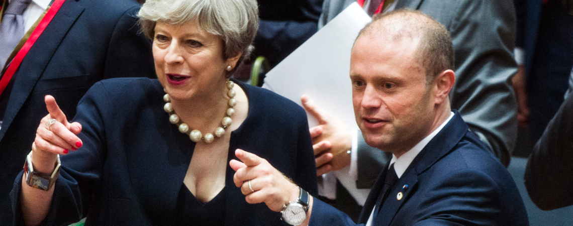 UK Prime Minister Theresa May and Prime Minister Joseph Muscat. Photo - Consilium