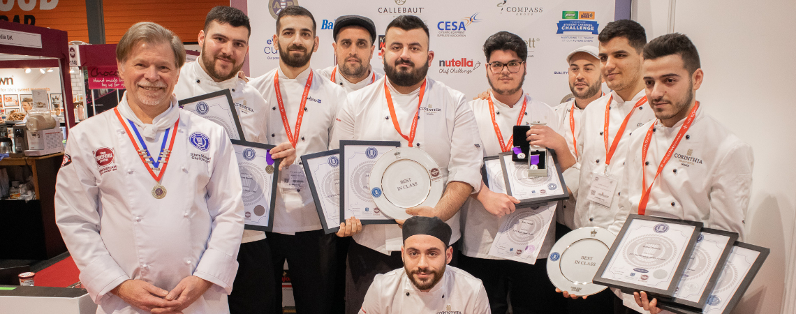 The eight Corinthia Palace chefs who participated in the Birmingham Salon Culinaire 2019.